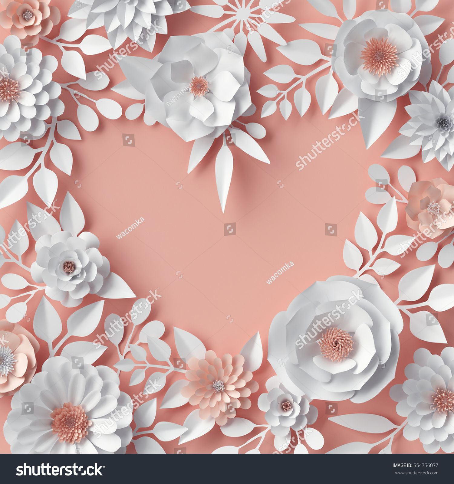 3d Render Digital Illustration Blush Pink Orange Paper Flowers