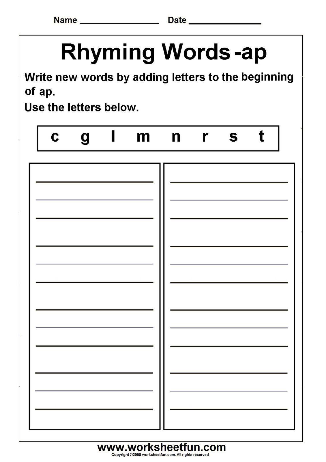 Rhyming Words Worksheet 2p