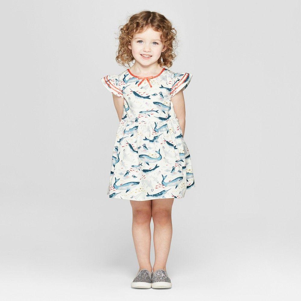 a377e7f282f7 Toddler Girls' Sea Creature A Line Dress - Genuine Kids from OshKosh Off- White 18M, White