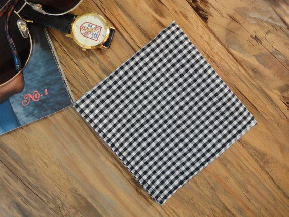 NEW Men's Handkerchief or Pocket Square in Black Gingham $16 by Love Virginia Ruth