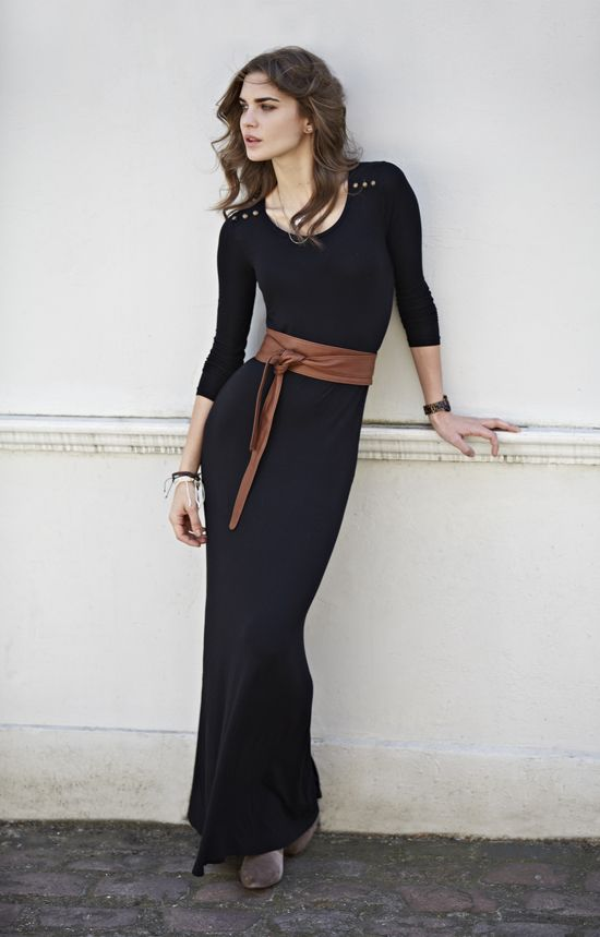 f4fbf6ed5a long sleeved black maxi with leather belt | Maxi Dresses with ...