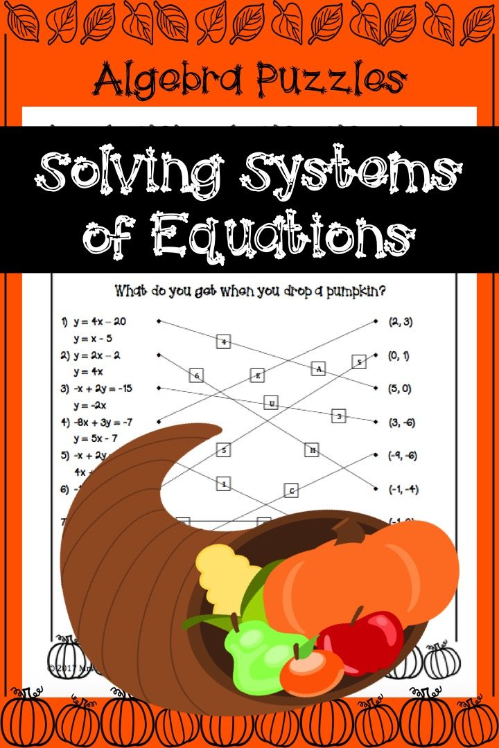 Systems of Equations Thanksgiving Puzzle Activity