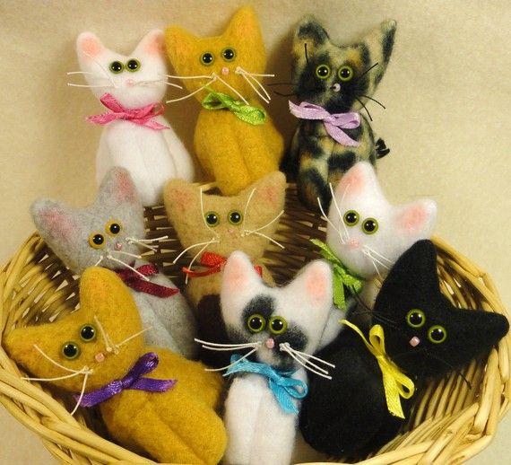 KITTIES  set of 3 Cat Dolls for 12 Dollars by by JoellesDolls, $12.00