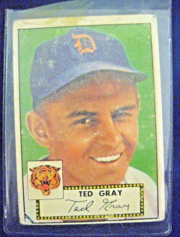 1952 Topps Ted Gray Baseball Card #86 Red Back Detroit Tigers #DetroitTigers