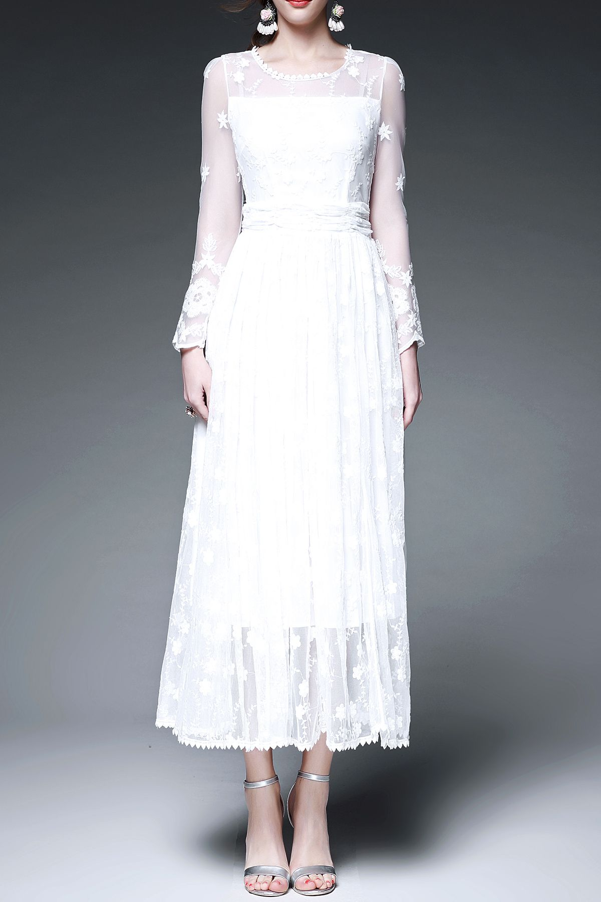 Solid color long sleeve voile spliced dress midi dresses clothes