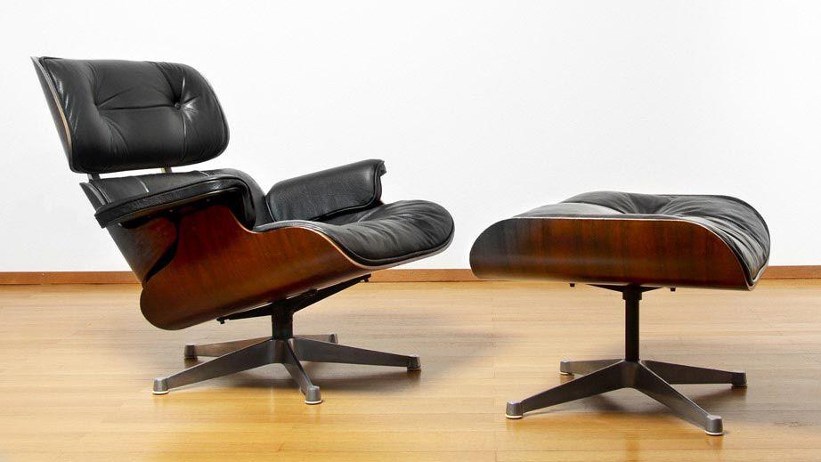 Charles lounge chair et son ottoman modèle 670 671 cuir noir et palissandre de rio piètement aluminium production herman miller