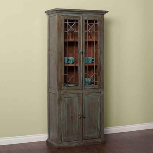 The Vintage Curio Brings Together Clic Design Elements With A Relaxed Rustic Finish 5 Shelves And 4 Doors It Has Plenty Of Room To Display Accents