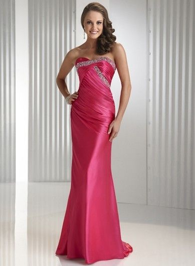 Sparkling Beaded Hot Pink Prom Dress in Sheath Silhouette P1419
