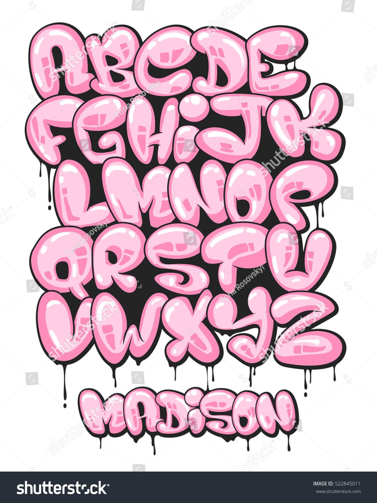 Graffiti bubble shaped alphabet set. | one step | Pinterest ...
