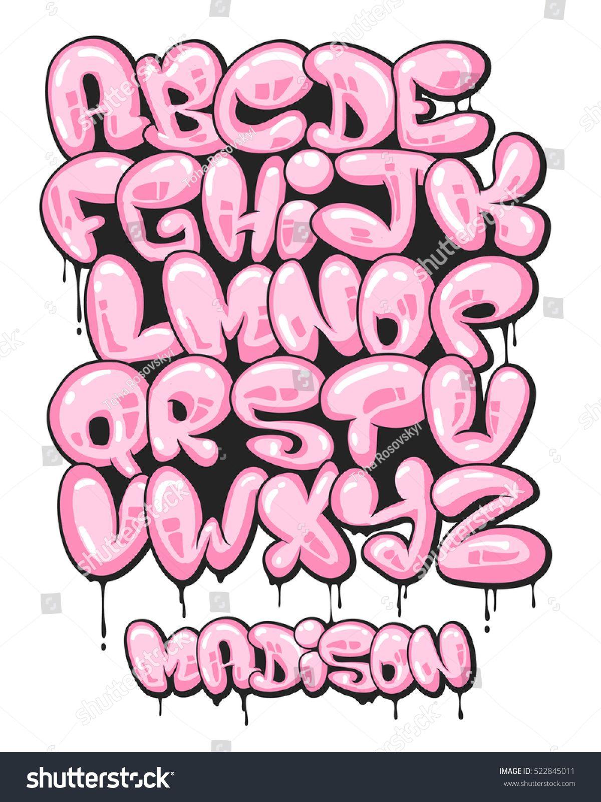 Graffiti Bubble Shaped Alphabet Set