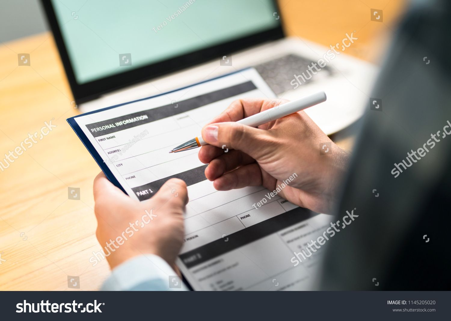 Survey Agreement Or Application Paper Man Writing
