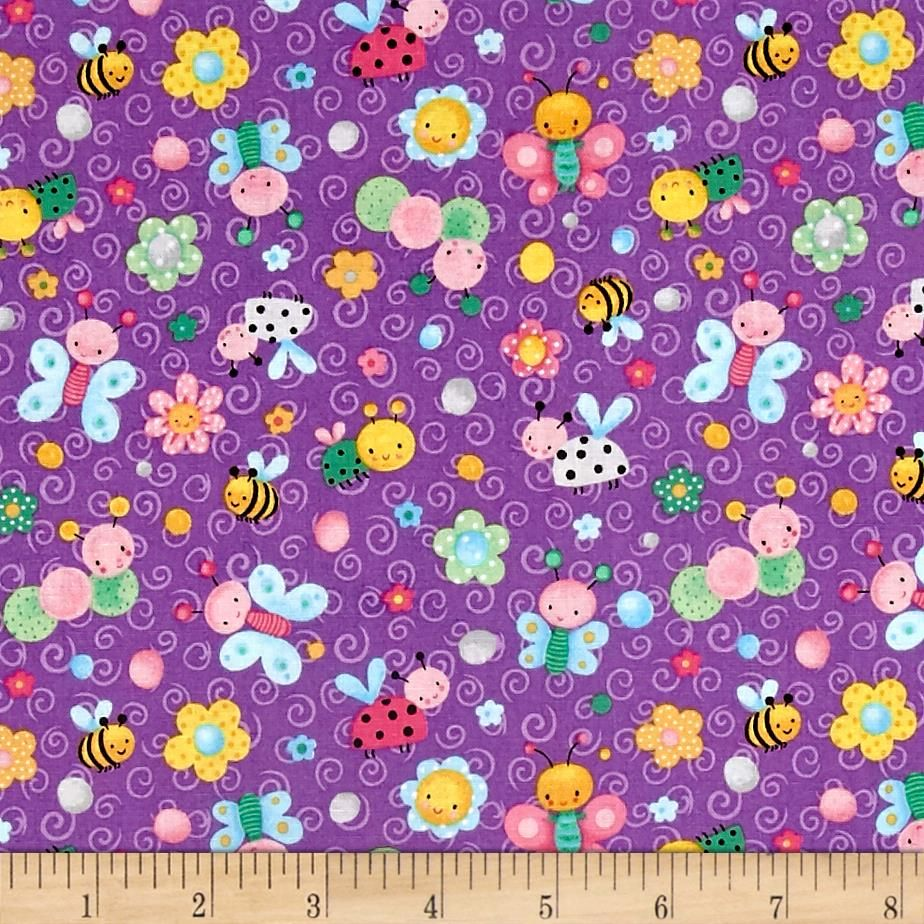 Spring Fling Allover Bugs Purple from @fabricdotcom  Designed by Sanja Rescek for Blank Quilting, this cotton print fabric features adorable spring bugs and insects enjoying the warm weather! Perfect for quilting, apparel and home decor accents. Colors include black, green, pale green, yellow, golden orange, orange, shades of pink and blue, grey, light grey and shades of purple.