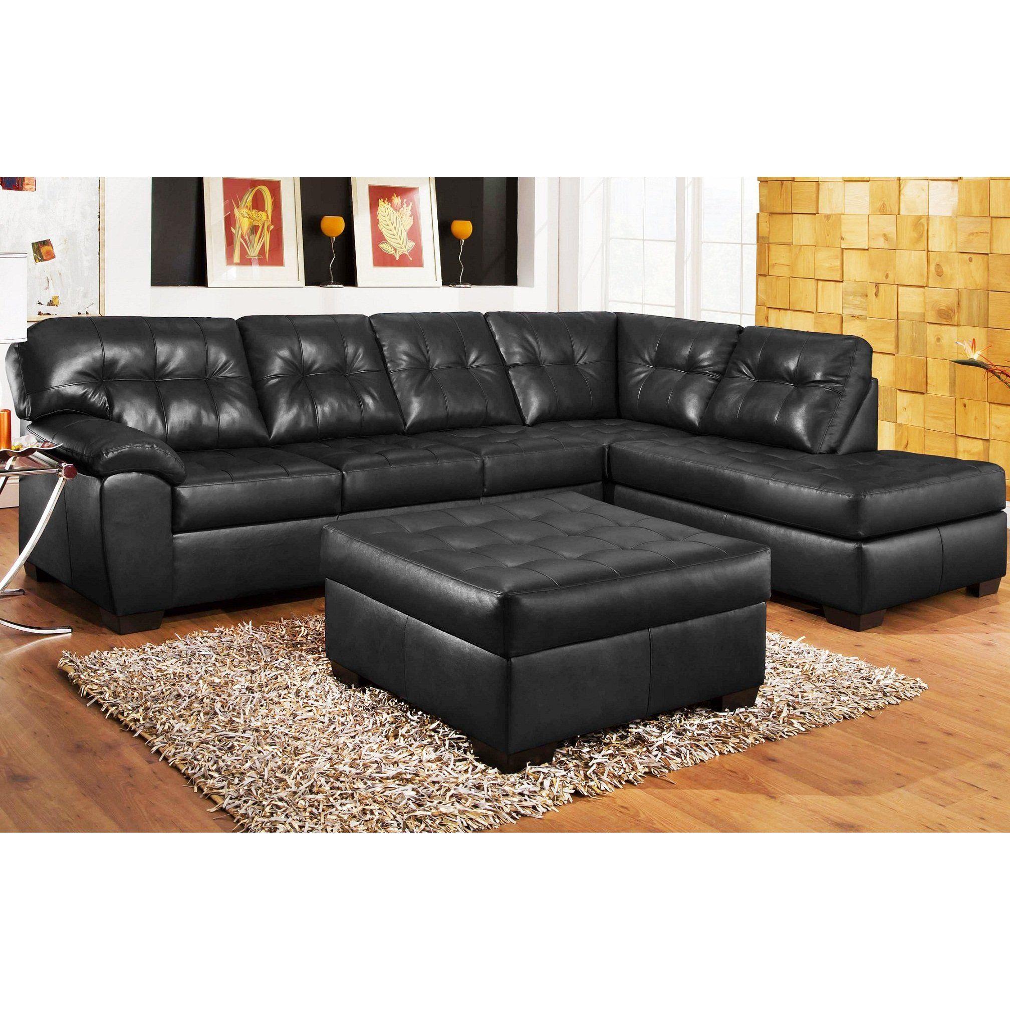 3pc Black Leather Sectional Sofa Chaise Ottoman Set Create