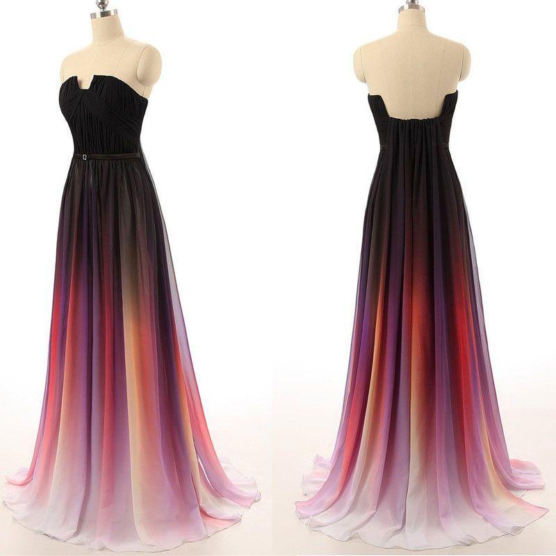 Black Navy Blue Ombre Chiffon Long Prom Dress   prom ♡   Pinterest ...