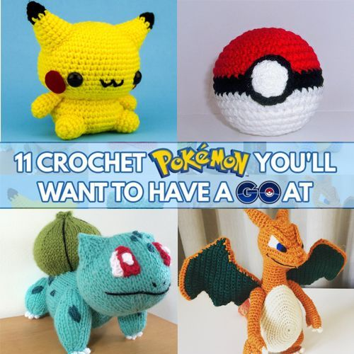 Crochet Pokemon GOWith the launch of the new Pokemon GO game, it's no surprise that 11 wild crochet pokemon have appeared. These patterns are sure to help you score lots of badges – of the needlecraft