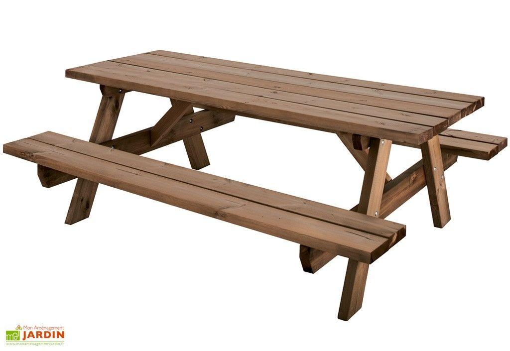 Table de Pique-Nique en Bois Traité Autoclave 6 Places - 200 cm ...