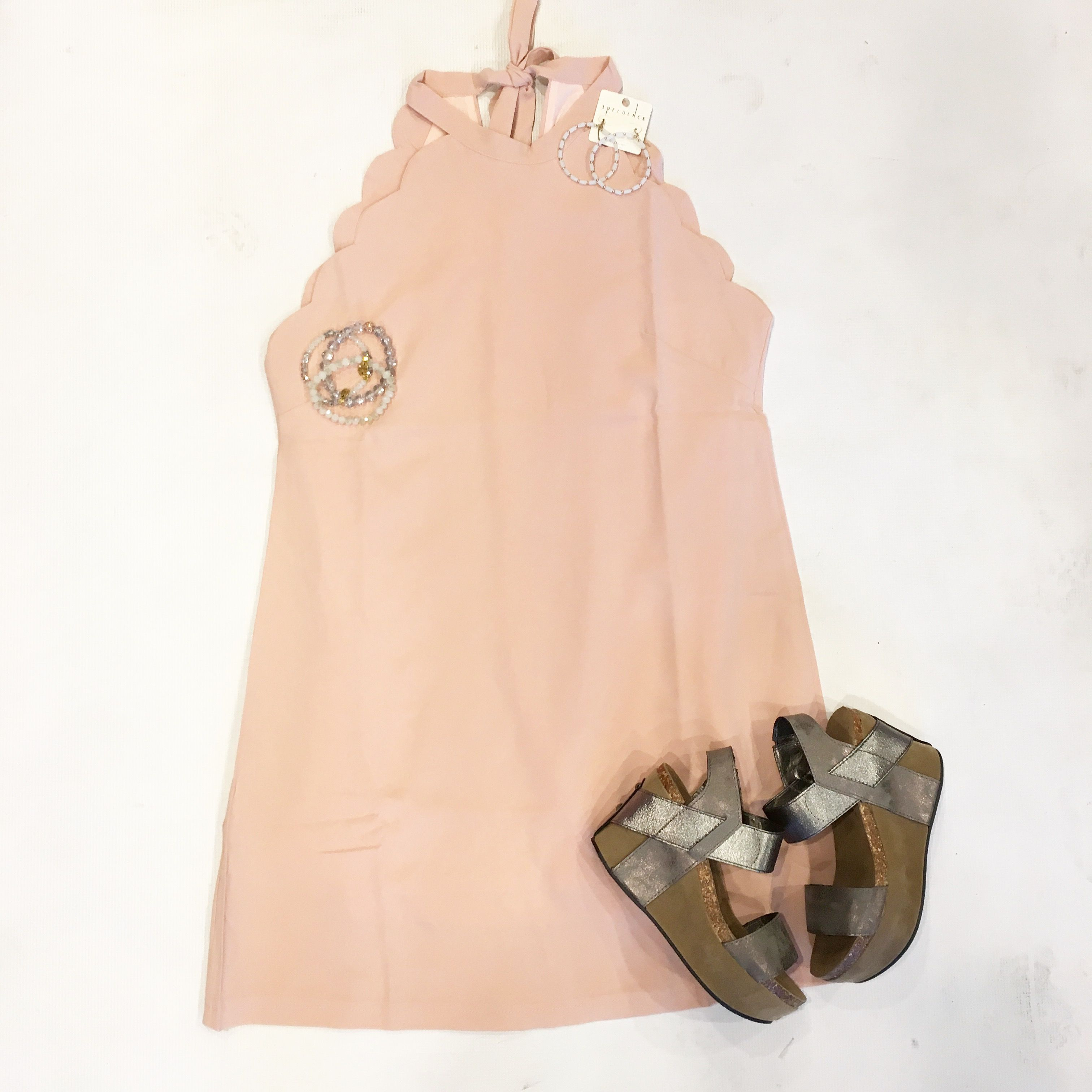 Pink dress in store   Loving this scallop light pink dress It ties in the back and
