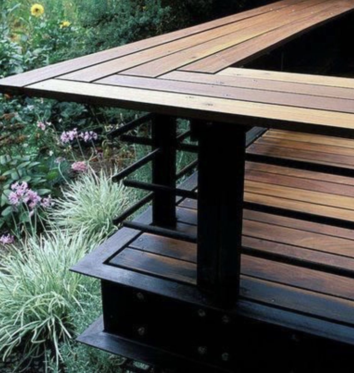 I Love This Steel And Color These Are I Also Love The Japenese Torch Cladding Look Or Otherwise Known Deck Railing Design Deck Designs Backyard Decks Backyard