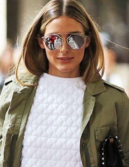 071b9b0fc0ad Who made Olivia Palermo s silver sunglasses and black studded handbag
