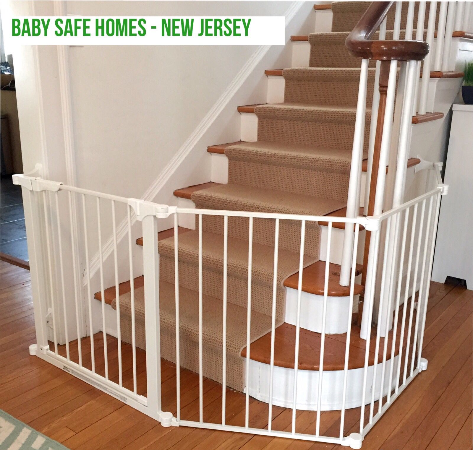 In This Maplewood Home We Installed A Safety Gate That Protects The Staircase From Little One S Entering But We Also Baby Gates Baby Gate For Stairs Kids Gate