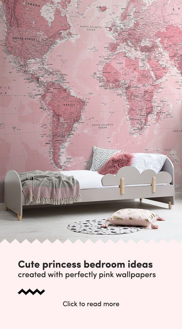 Pink World Map Wallpaper Mural Murals Wallpaper Pink Wallpaper Bedroom Girls Room Wallpaper Pink Bedroom For Girls