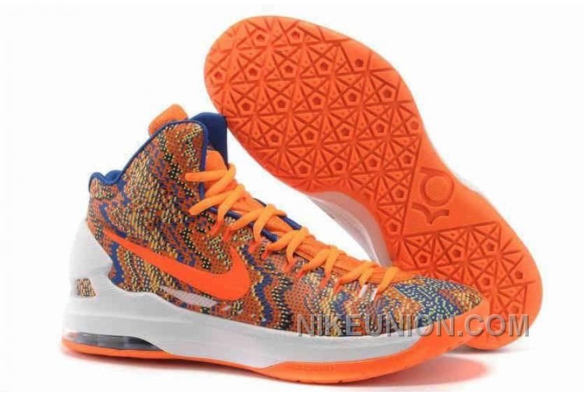 Best Gift Orange Nike Zoom KD 5 iD Offers New Graphic Pattern Basketball  Shoes Store