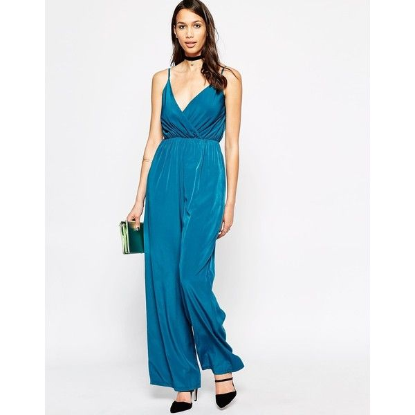 Love Cami Jumpsuit ($29) ❤ liked on Polyvore featuring jumpsuits, petrol, tall jumpsuits, v neck camisole, jumpsuits & rompers, v neck jumpsuit and white camisole