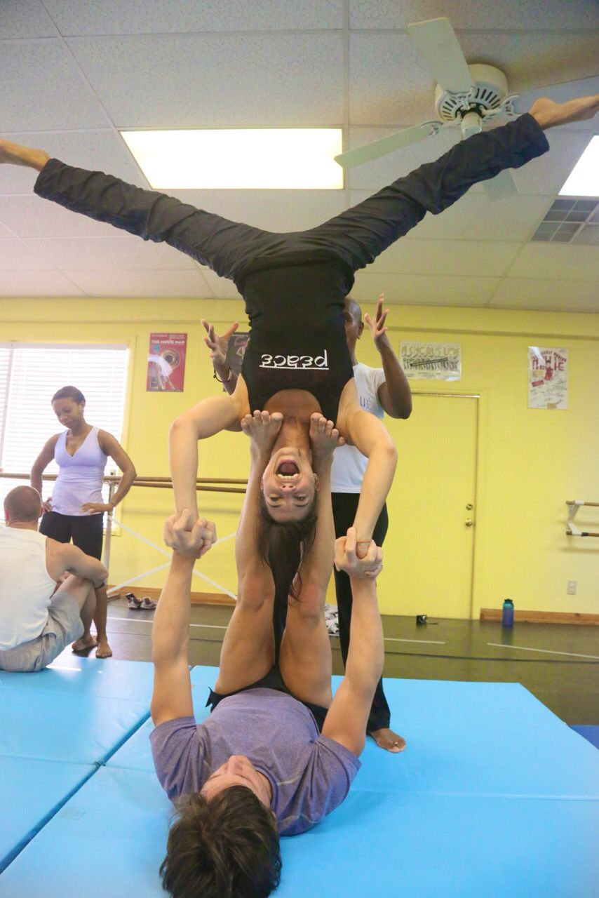 Acro stunt  Two people yoga poses, Partner yoga poses, Two person