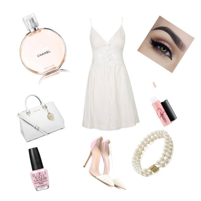 """""""Damn Marnie"""" by teaatchanel ❤ liked on Polyvore featuring Chanel, Topshop, Michael Kors, Gianvito Rossi, MAC Cosmetics, OPI and Honora"""