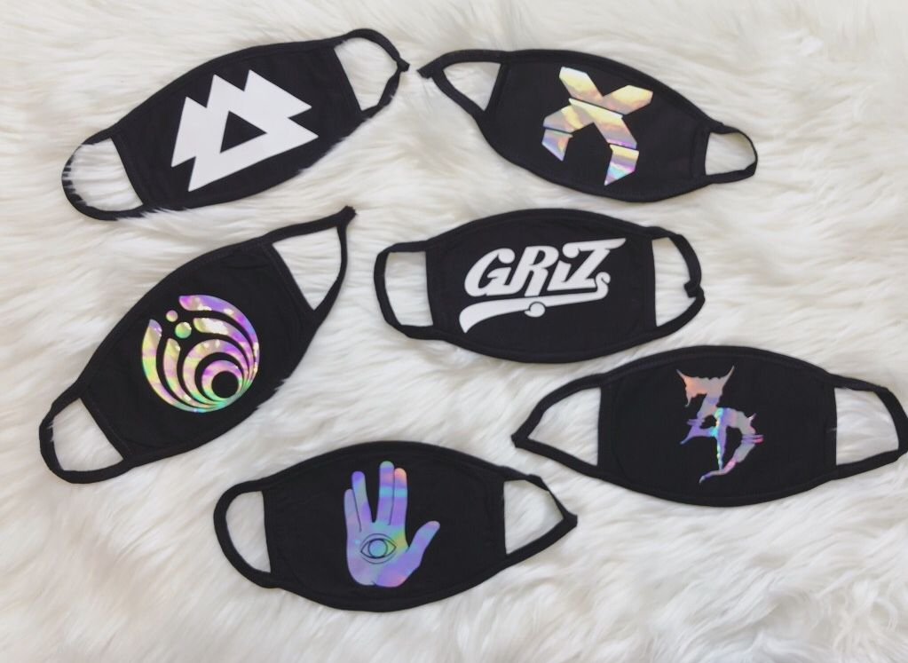 b362a67a41aa Custom holographic festival anti dust face mask from SlapQueen.com ...