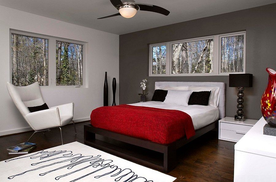 Polished Passion 19 Dashing Bedrooms In Red And Gray Grey Bedroom Design Bedroom Red Modern Guest Bedroom