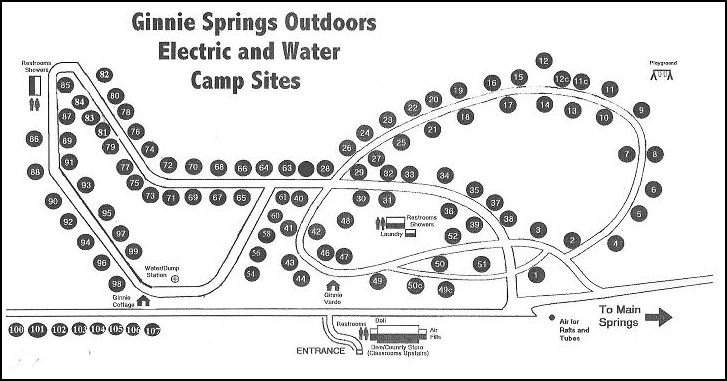 camp sites at Ginnie Springs Outdoors | Motorcycle Trip ... on cozumel map, silver river state park map, manatee springs map, st. andrews state park map, caladesi island state park map, ichetucknee state park map, vortex springs map, peacock springs map, weeki wachee springs map, john pennekamp coral reef state park map, oscar scherer state park map, ponce de leon springs map, gilchrist county map, poe springs map, telford map, suwannee river state park map, alexander springs map, high springs fl map, long key state park map, the devil's highway map,