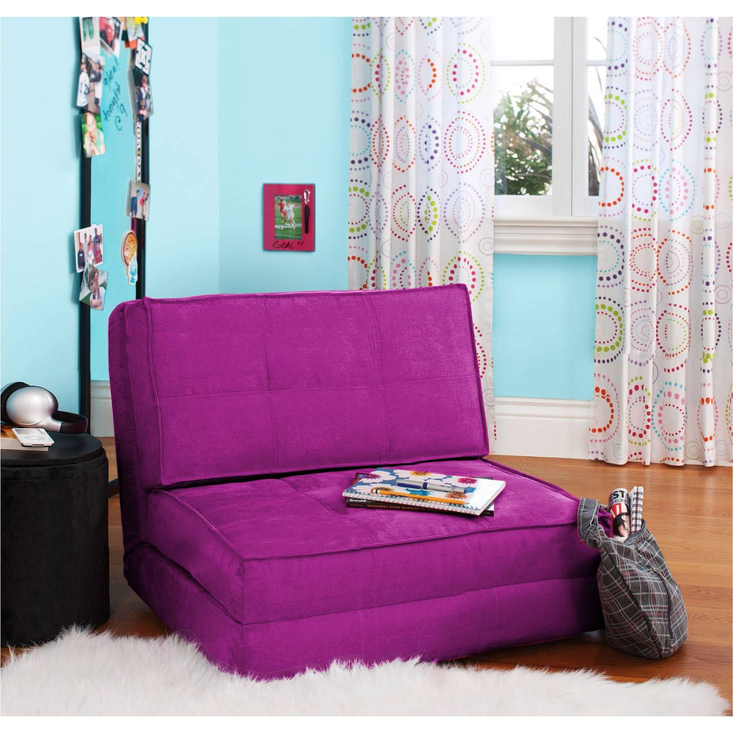Dorm seating papasan dorm sofa pink college futon - Your Zone Flip Chair Multiple Colors Perfect For Under Loft Bed