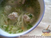Фото к рецепту: Картофельный суп с фрикадельками и лапшой