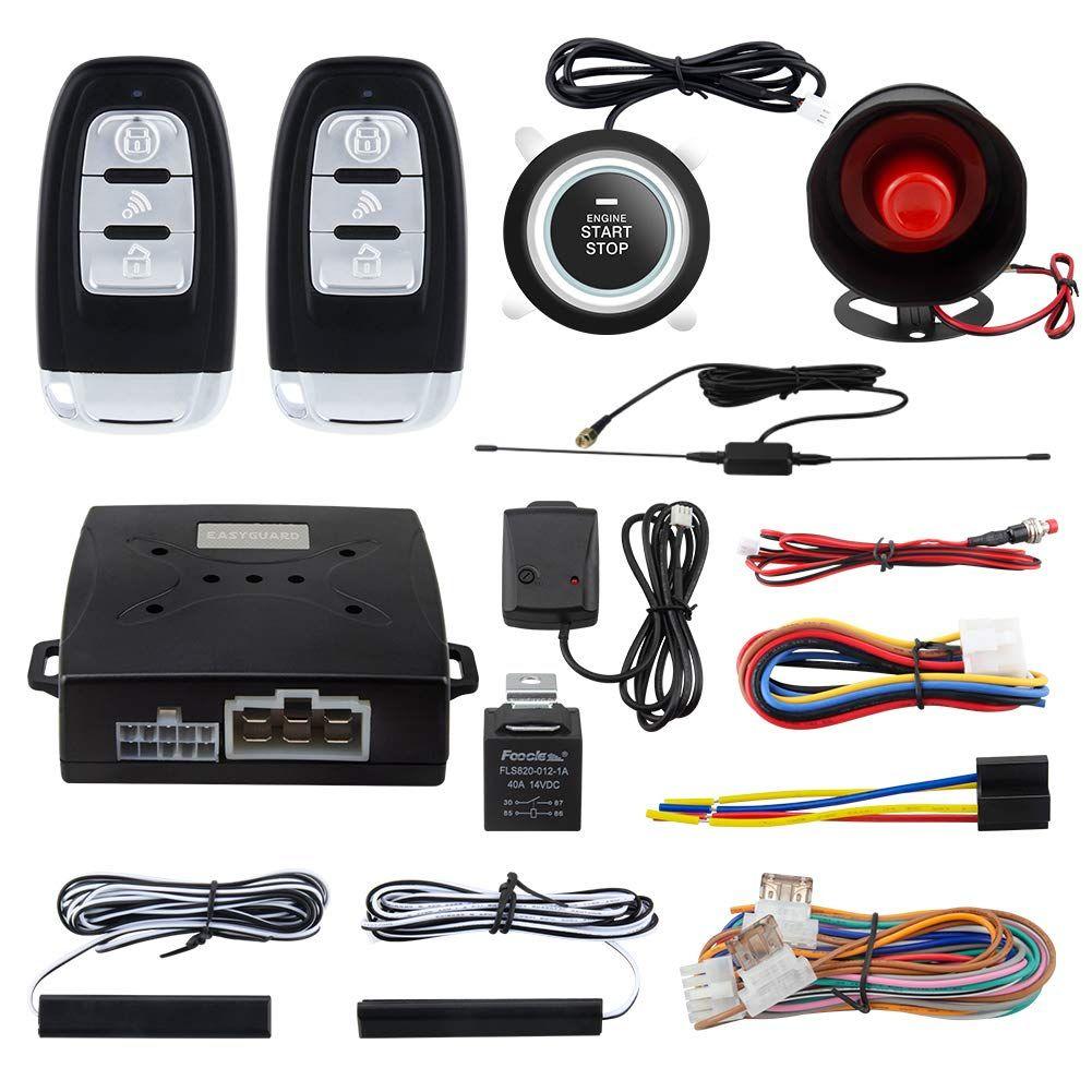 Easyguard Ec003 Ns Pke Car Alarm Proximity Entry Push Start Button Remote Engine Start Shock Alarm Warning Dc12v Be Sure To C Car Alarm Engine Start Remote