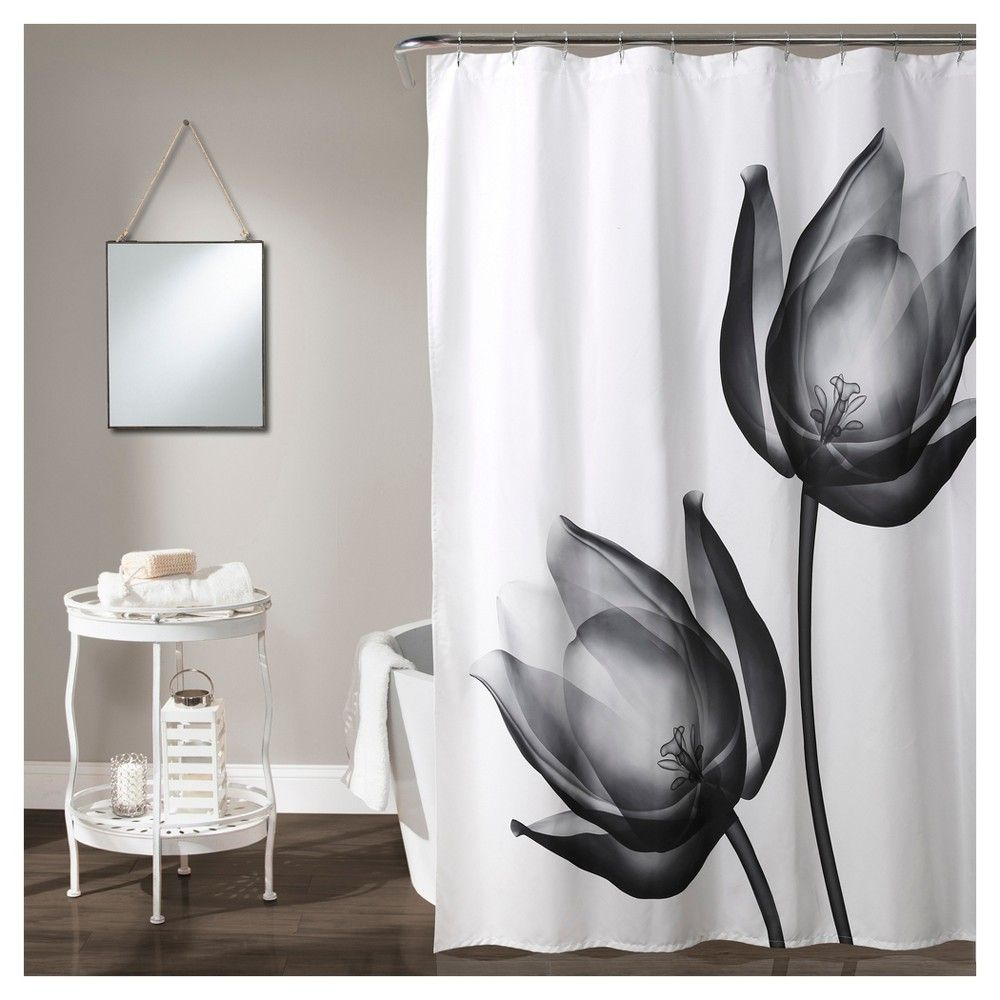 Xray Tulip Shower Curtain Set Black White 70 X72 Lush Decor