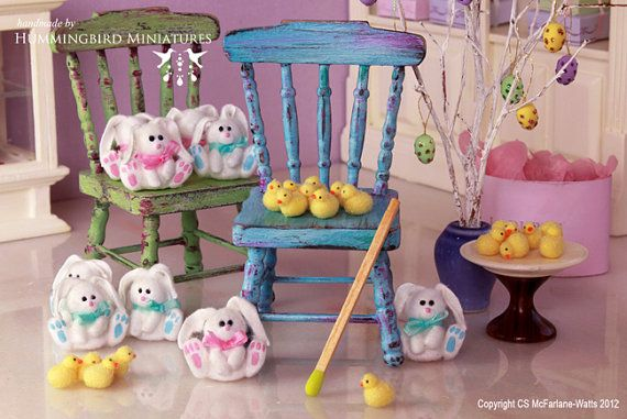 Fluffy Easter Chick 1/12 scale dollhouse by HummingbirdMiniature, $12.00