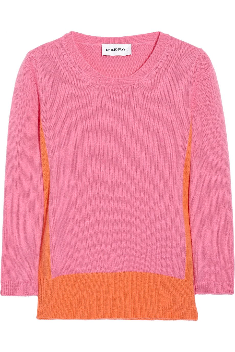 Lovely silhouetting. Hot-pink and sherbet-orange colour-block cashmere sweater.  Emilio Pucci