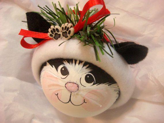 Personalized Cat Ornament Cat in a Santa hat Cat Ornament Cat Lover Gift