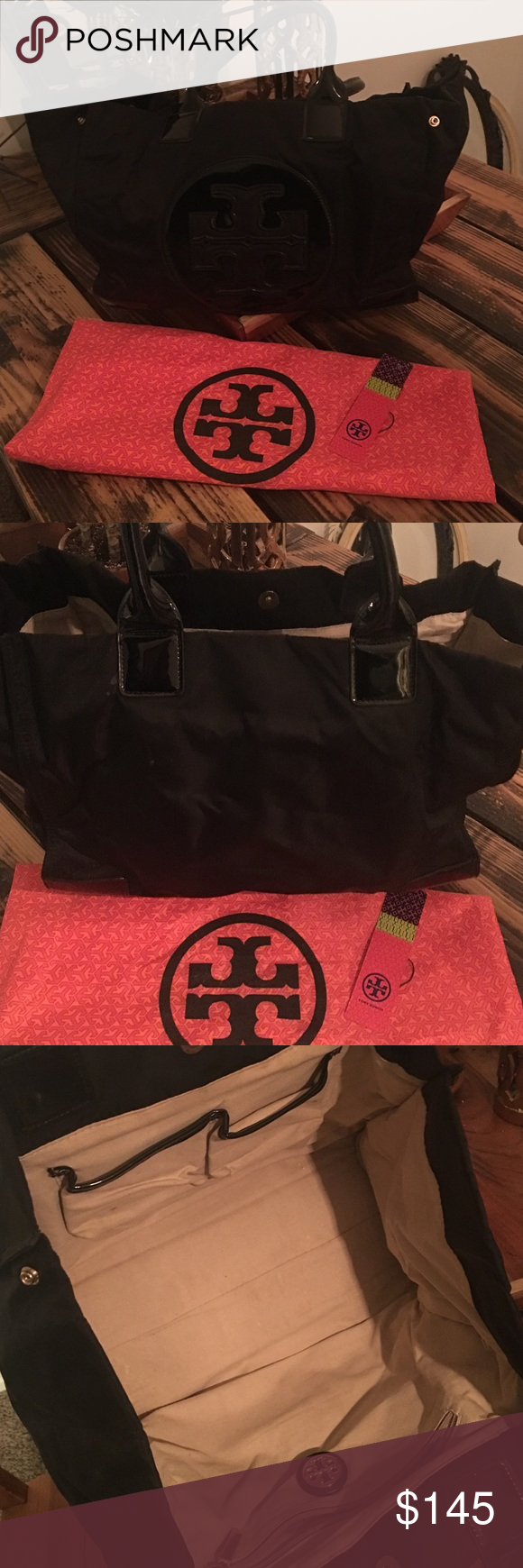 Tory burch black nylon tote Used a couple times. Still in great condition, no visible signs of wear. Comes with dust bag and tag. Tory Burch Bags Totes