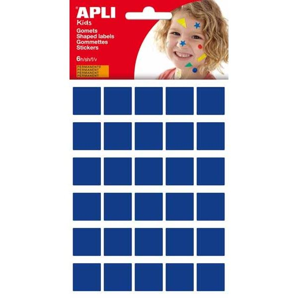 20 x 20 mm blau gelb und gr/ün 4er Pack Rollen Gomets quadratisch 4 Farben APLI Kids 18326 rot