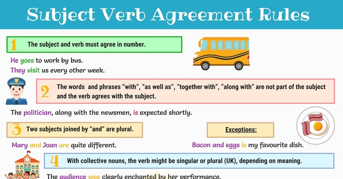 Subject Verb Agreement Rules And Useful Examples 7esl Subject Verb Agreement Subject And Verb Subject Verb Agreement Rules
