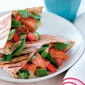Lowfat: Grilled Salmon Avocado Pitas : Get Healthy