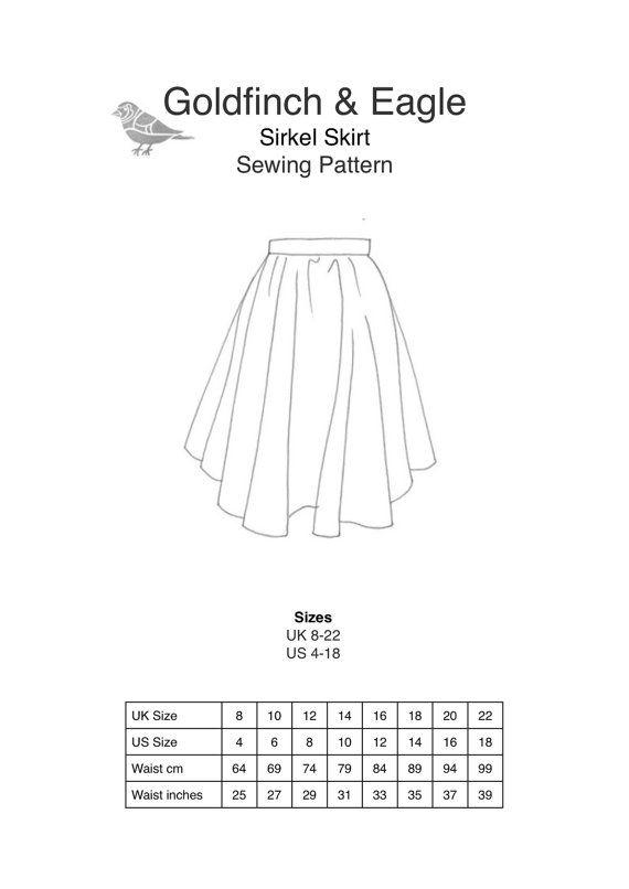 Women\'s multisize circle skirt PDF Sewing Pattern