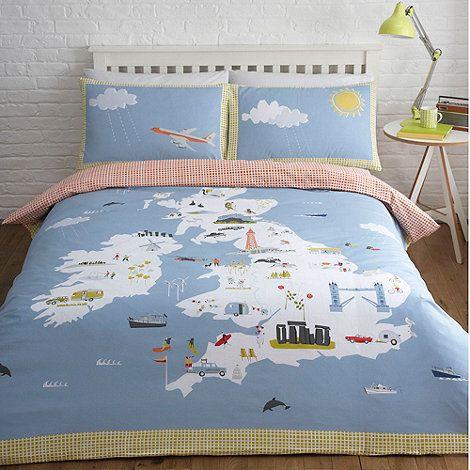 Yukari Sweeney/EDITION Blue \'British Isles\' bedding set- at ...