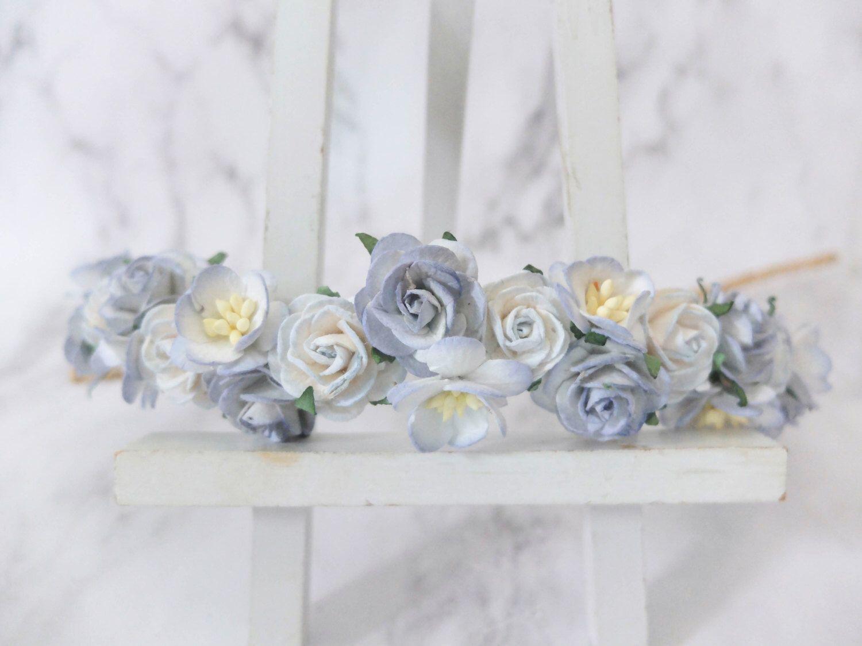 Dusty blue flower crown light blue wedding rose crown floral dusty blue flower crown light blue wedding rose crown floral hair wreath headpiece izmirmasajfo