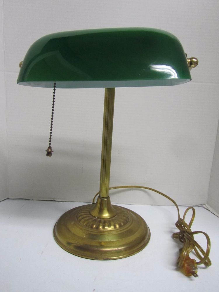 Vintage Bankers Lawyers Piano Desk Table Lamp Green Glass Shade Brass Base Desk Lamp Lamp Bankers Desk Lamp