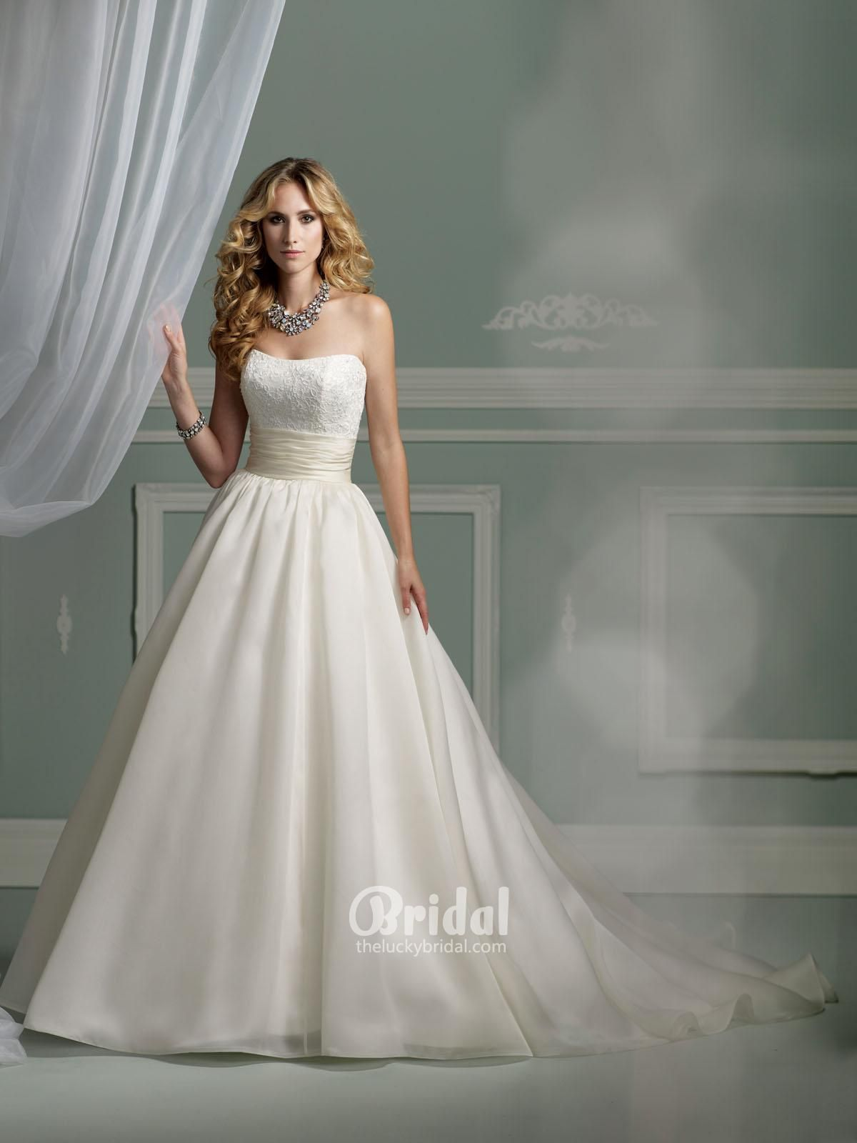 Satin strapless ball gown wedding dress dresses and rings uc