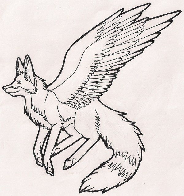 Fox With Wings Coloring Pages Designs Collections