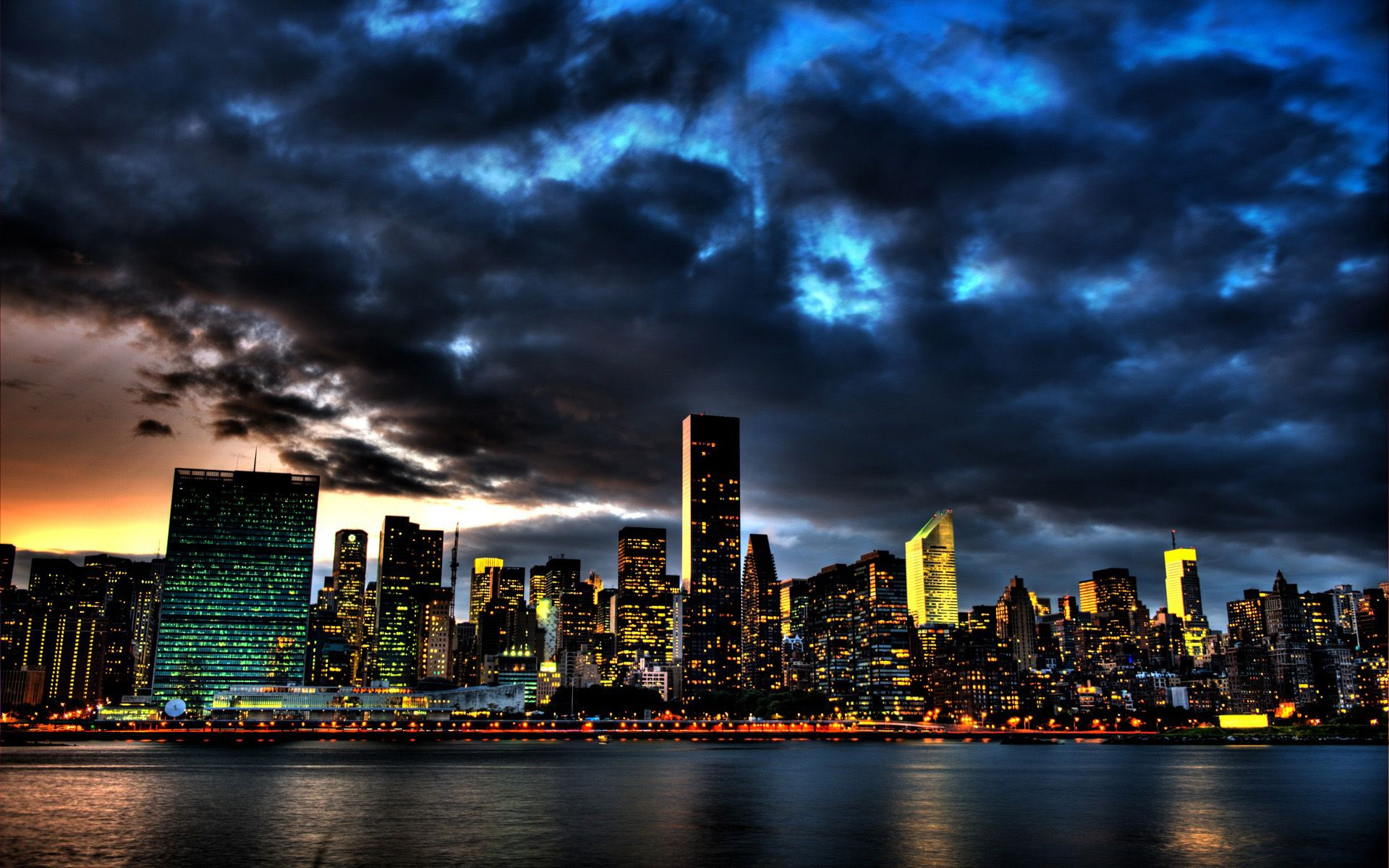New York Skyline At Night Wallpaper Hd 5 City With Images New